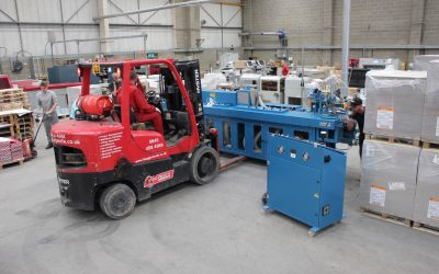 20th May 2019 – Delivery & Installation of our first edging machine taking place.